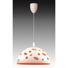 Suspension - Métal - Coccinelle - 40 cm Dim - Blanc/Orange