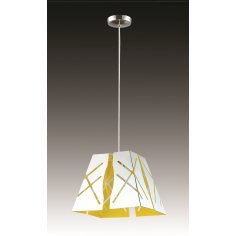 Suspension - Métal - Phénix - 28 cm - Chrome/Jaune