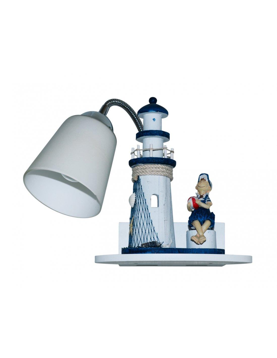applique enfant en forme de phare dreamway d bl bleu. Black Bedroom Furniture Sets. Home Design Ideas