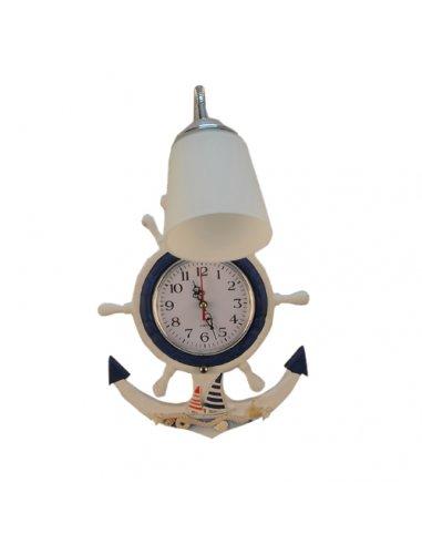 Applique Murale enfant - Bleu et blanc - Horloge Minifigure D/BL