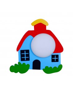 Wall lamp child - Red and Blue - Small house - Shaled GR+RD