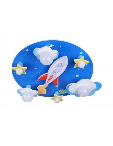 Plafonnier Enfant Bleu et Blanc - Cosmoluce 6 BL - Fusée