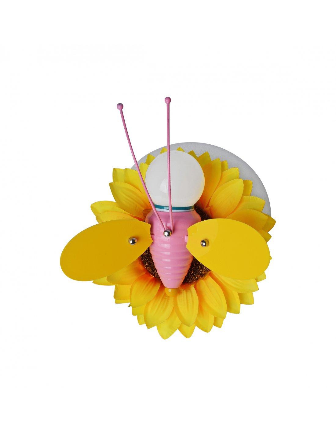applique enfant en forme d'abeille - lonlibee y + pk - jaune et rose