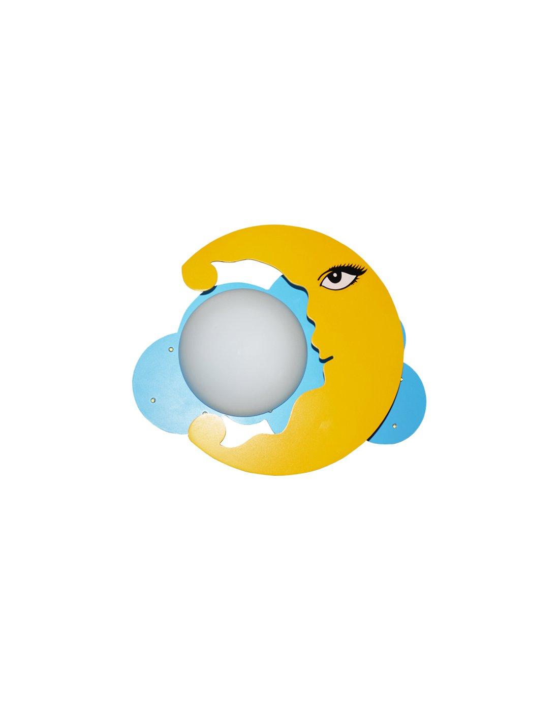 applique enfant en forme de lune - sleepy moon y + bl - jaune et bleu