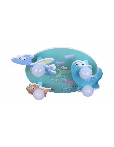Plafonnier Enfant - Vert et Bleu - Lovely 4 GR - Dinosaures