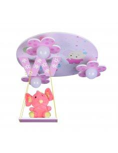 Plafonnier Enfant - Rose - Bonheur 3 PK - Éléphant