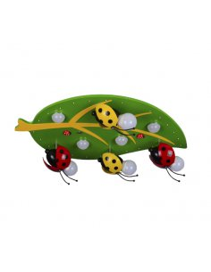 Ceiling lamp child - Green and Yellow - Ladybug - Coccibelle 8 GR