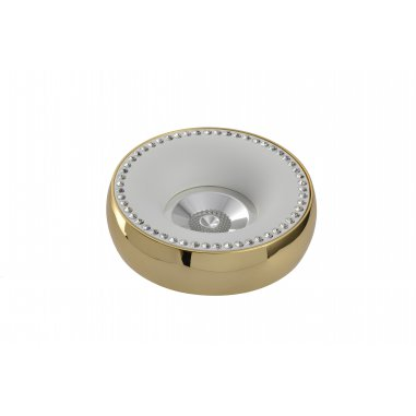 Spot  Round     Aluminum     with   Crystal               White  &  Gold